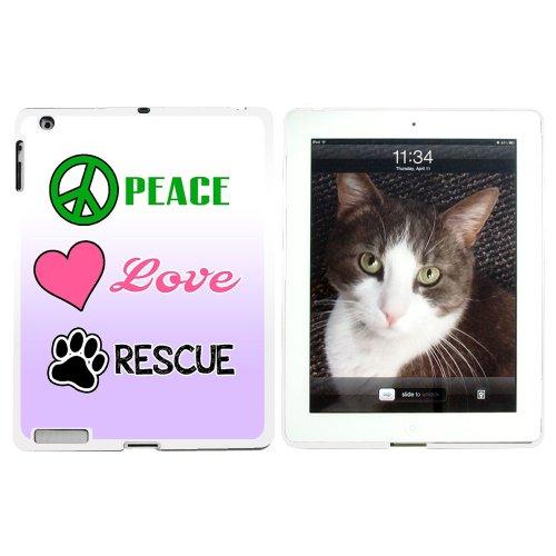 Peace Love Notfallmesser - Angelzelt Haustier Hunde Katzen Tier Patenschaft Pfotenabdruck - Schutzhülle zum Aufstecken für Apple iPad 2 3 4 - Weiß
