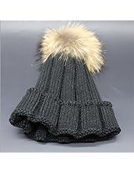 Wenxin0815 Hat Gorro De Punto Otoño Invierno Amplio Borde Tricotado Tapa Exterior Engrosada Cálida Gorra Mujer,Negro