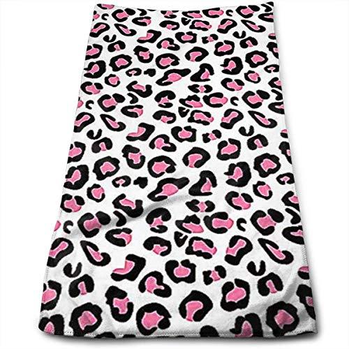 BetterShopDay Pink Cheetah Print Superweiches Polyester Saugfähiges Gesichtstuch Beauty Towels Stoffhandtuch Rag 30X70CM