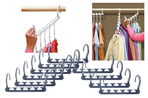 Bes - Juego de 10colgadores de perchas para ahorrar espacio al guardar tus camisas y pantalones en el armario