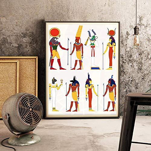 Decoración egipcia Dios de Egipto Cuadro Lienzo Pintura, Antiguo Egipto Lienzo, Impresión y Póster Arte de la pared Retro Decoración 60x80 cm Sin marco