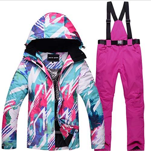 WAVENI Senderismo al Aire Libre Traje de Nieve para Mujer Chaqueta de esquí de Invierno y Pantalones Conjunto de Traje de Nieve (Color : 07, Size : M)