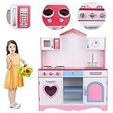 Ridgeyard Cucina per bambini Cucina Giocattolo per Bambini in Legno Rosa Kitchen Toys Role Play per 3-9 Età