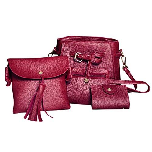 Koly_Le donne di modo della borsa dei sacchetti di spalla Quattro pezzi Borsa Crossbody (Rosso)