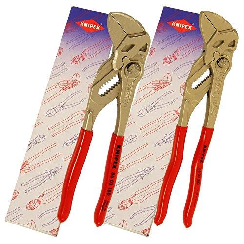 Preisvergleich Produktbild KNIPEX 8603 Wasserpumpenzange Zangenschlüssel Sanitär Rohrzange Set 2 tlg Wasserpumpe Zange 180,  250 mm Schlüssel 86 03 180 / 250 Klempner 180 + 250 mm