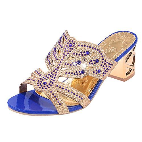 Lgk & fa estate sandali sandali da donna elegante diamante estate con spessa tacco Show Thin pantofole Sapphire blue