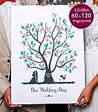 Wedding Tree Gästebuch Fingerabdruckbaum 1 auf Leinwand für die Hochzeit (30 x 45 cm)