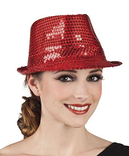 Faschingsfete Karnevalsaccessoire - Hut mit Pailletten, Popstar, Rot
