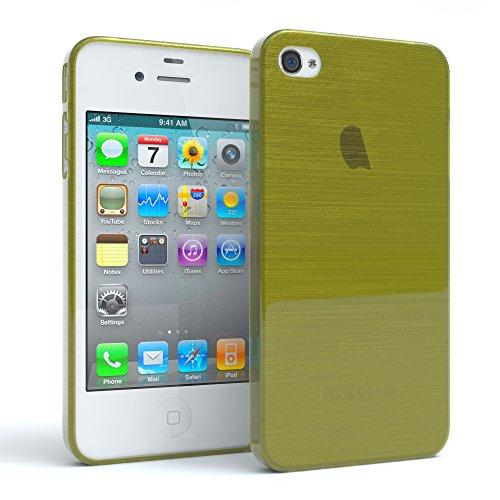 "EAZY CASE Handyhülle für Apple iPhone 4S, iPhone 4 Hülle - Premium Handy Schutzhülle Slimcover ""Clear"" - Transparentes Silikon Backcover in Klar / Durchsichtig Brushed Grün"