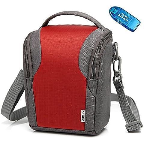 First2savvv BDV2208G10-6407 Rosso Custodia Fondina con Tracolla Borsa per Fotocamere Reflex per Canon PowerShot SX420 . SX410 . EOS M10 . EOS M3. G1X Mark II . G3X + Lettore di schede SD