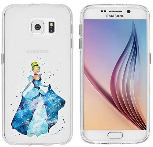 Samsung Galaxy S6 Hülle von licaso® für das Galaxy S6 aus TPU Silikon Prinzessin Aquarell Krone Prinz Comic Muster ultra-dünn schützt Dein Samsung Galaxy S6 & ist stylisch Schutzhülle Bumper (Cinderella Glas Schuhe)
