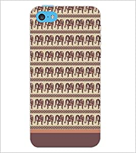 PrintDhaba Elephant Pattern D-1904 Back Case Cover for APPLE IPHONE 5C (Multi-Coloured)