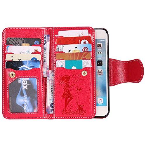 C-Super Mall-UK Apple iPhone 6 / 6s hülle[9 Kartenschlitze und Verfassungsspiegel], Geprägt Mädchen & Katze Muster PU-Leder Brieftasche Stehen Flip hülle Apple iPhone 6 / 6s(blau) red