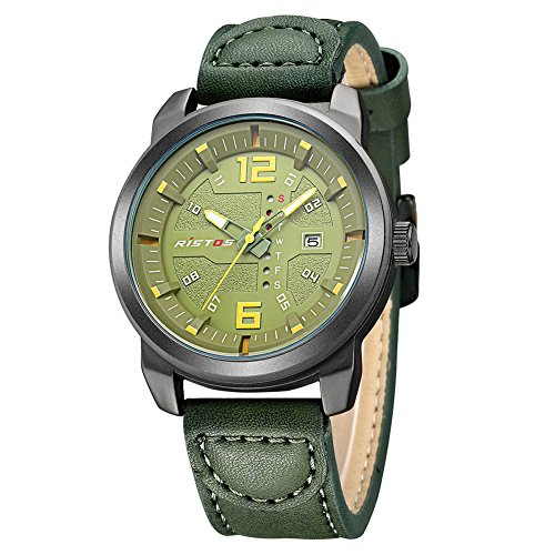 iLove EU Herren Sport Armbanduhr Uhr Analog Quarz Leder 30M Wasserdicht LED-Licht Woche Datum Grün WHLSS007-3 -
