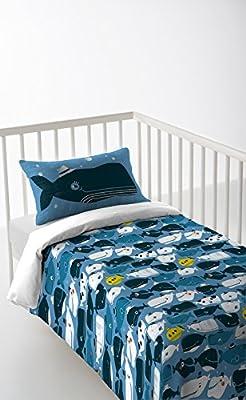 Pack 3 piezas: Funda nordica + sabana bajera + funda de almohada 30x50 cm para cunas de 120 x 60 cm color azul algodón 100% Fabricado en España HAPPY WHALES