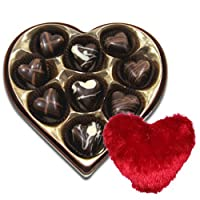 Chocholik 9Pc Bittersweet Collection Of Chocolates With Heart Pillow - Valentine Special Love Gifts