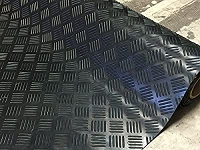 "5 Bar Plate Rubber Garage Flooring Matting | 4ft 9"" (1.5 Metres) wide 
