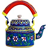 IHandikart Handicrafts Hand Painted Aluminum Tea Kettle Pot,Multicolor Tradition Tea Pot/Kettle Art Home And Garden Kitchen And Dining Serve Ware Table Ware Coffee & Tea (Nature Degine ) (1 Litre, 22 Cm), 5071…