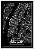 Panorama Tableau Carte Noir de New York 50 x 70 cm - Imprimée sur Toile de Grande qualité - Tableau Ville Noir et Blanc - Tableau Moderne pour la Maison - Affiche Décoration Murale - Art Vintage