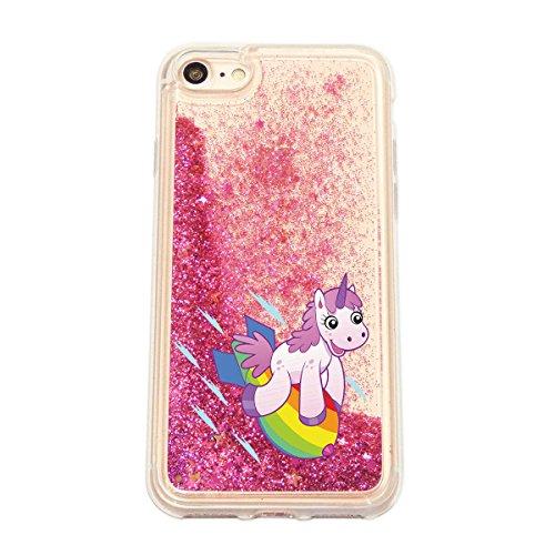 finoo | iPhone 6 / 6S Flüssige Liquid Pinke Glitzer Bling Bling Handy-Hülle | Rundum Silikon Schutz-hülle + Muster | Weicher TPU Bumper Case Cover | Einhorn Katze Einhorn Rakete