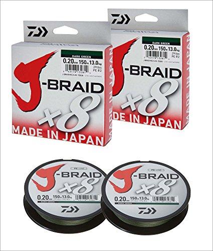 2 Stk. Daiwa J-Braid 8 Braid 0.35mm, 36,0kg/39,0lbs, 300m dunkelgrün (Doppelpack)