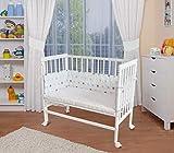 WALDIN Baby Beistellbett mit Matratze und Nestchen, höhen-verstellbar, 16 Modelle wählbar, Buche Massiv-Holz weiß lackiert,Sterne/blau