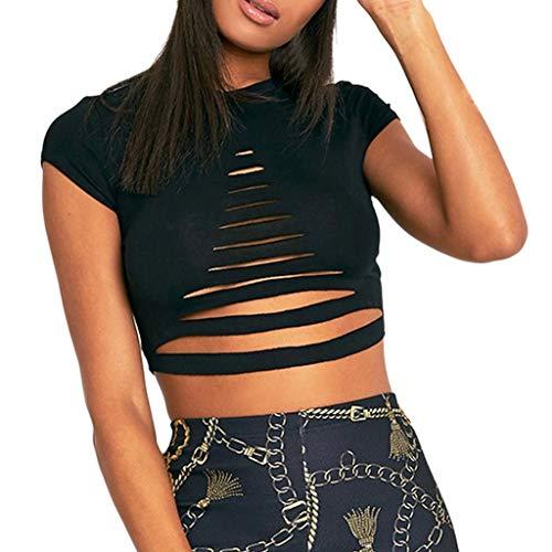 Gooldu Kurzes T-Shirt, sexy Damen, modisch, lässig, einfarbig, Rundhalsausschnitt, hohl, kurzärmelig - schwarz - Groß