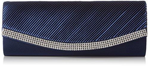 Berydale Damen Satin Handtasche mit Strassbesatz, Clutch Schultertasche mit Zusatzkette und Magnetverschluss, Dunkelblau -
