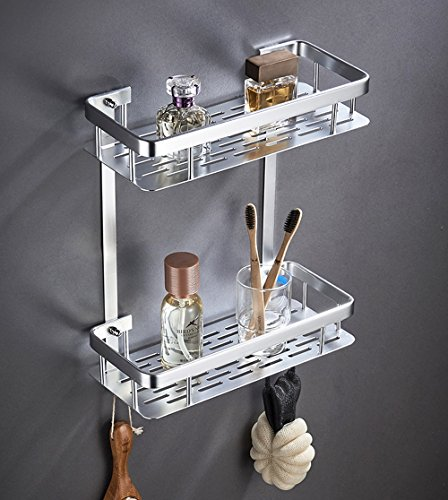 LYQ Badezimmer Regal Organizer Carrier - Waschraum, Küche, WC, Wandbehang, rechtwinklig und Dreieck, Keine Löcher, Rost zu verhindern, Multi Style, Multi Layer (Color : 2L RA Wide Frame)