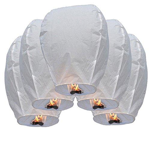NUOLUX 10ST Oval Sky Laterne wünschen Lampen für Party Hochzeit Geburtstag (weiß)