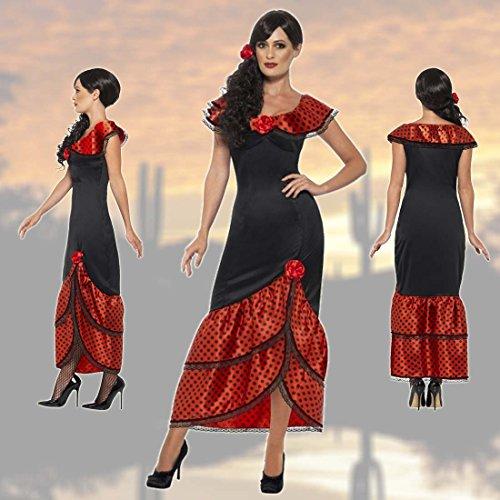 NET TOYS Flamencokleid Carmen Spanierin Kostüm XL 48/50 Senorita Outfit Spanierinnenkostüm Damenkostüm Flamenco Faschingskostüm ()
