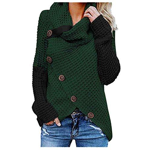 ESAILQ Kleider Damen Stilvoll Rollkragen Pullover Lang Schlank Strickpullover Vintage Cardigan für Winter Herbst Stylisch Sweatshirts Strickwaren Oberteil Mesh 5 Stil