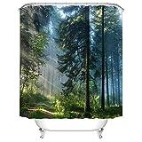 YLXINGMU Duschvorhang 3D-Druckvorhang Wald Wasserdicht Feuchtigkeitsfest Weihnachtsdekoration.180Cm(W)×180Cm(H)
