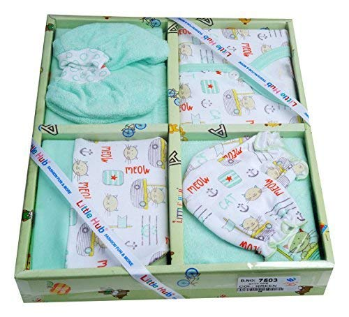 Little Hub 6 pcs New Born Unisex Baby Gift Set (Green, 0-3 months)