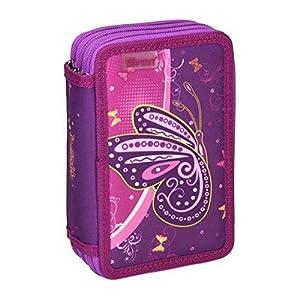 Spirit Estuche Escolar con diseño de Mariposa púrpura, 3 Cremalleras