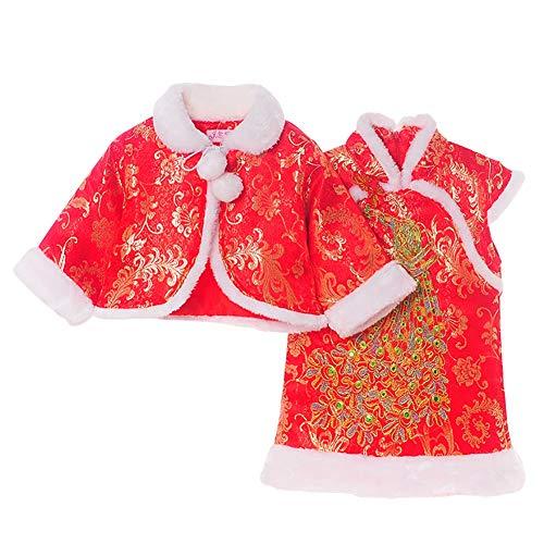 Blaward Chinesische Kleidung Baby Mädchen Kleid Winter Cheongsam Tang Anzug Cheongsam Baumwollumhang Schal Neue Jahr Kostüm Leistung