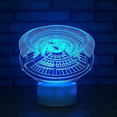 XIAOYEDENGXINNeuheit 3D Led 7 Farbwechsel Kreative Nachtlicht Retro Architekturmodell USB Schlafzimmer Tischlampe Schlaf Beleuchtung Dekoration Geschenke