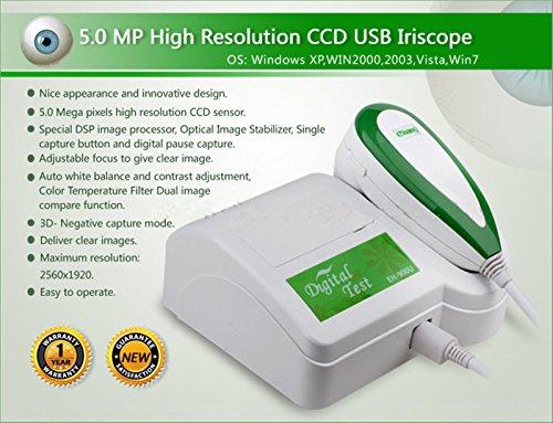JIAHAO - Lámpara USB de alta resolución de 5,0 MP para el cabello y la izquierda/derecha, Iriscope, cámara de iridología, analizador/analizador de alcance con software Pro 2 en 1 (con lentes 30 x Iris y lentes de pelo de 200 x)