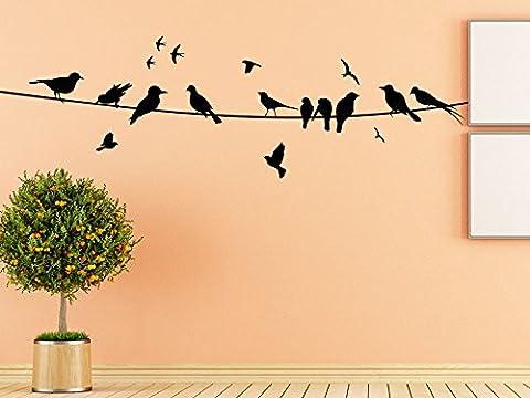KLEBEHELD® Wandtattoo Vögel auf Stromleitung
