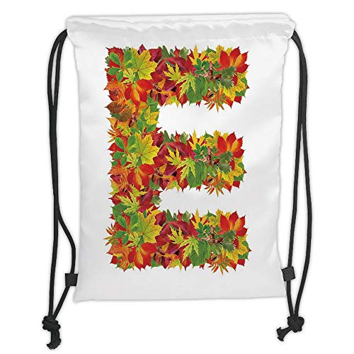 Icndpshorts Letter E,Chestnut Maple Leaves Natural Oak Petals Vibrant Colors E Symbol Print,Vermilion Yellow Green Soft Satin,5 Liter Capacity,Adjustable String Closu -
