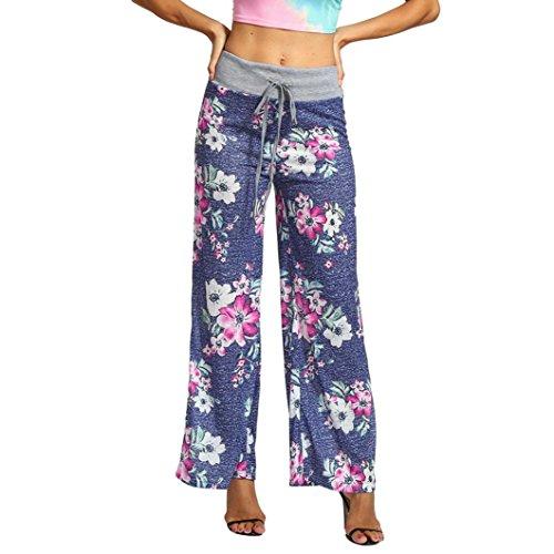Damen Hose, Frauen Mode Beiläufige Sommer Flower-Print High Waist Haremshose Aladinhose Yogahose Strecken Sporthose Freizeithose Casual Lange Hose Streetwear Outdoorhose (Blau,S)