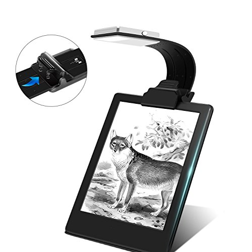 Ayotu Licht zum LESEN/Reading Light/ Night Light/ Backlight Flexibler Arm E-Reader mit USB wiederaufladbar 4-Stufen einstellbare Helligkeit für eBook Readers, Tablet, iPad, Kobo, Laptops etc. (schwarz)