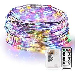 Cadena de Luces, Guirnalda de Luces 10M 100 LED Impermeable Línea de Plata de 8 Modos de Luz, con Control Remoto para Lluminación DIY, Navidad, Decoración Fiesta, Jardín, Boda etc (Multicolor)