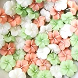 Divine Lights Floating Flower Candle- Green, White, Salmon Red - Set Of 6- (1.5 X 1.5 X 0.5 Inches)