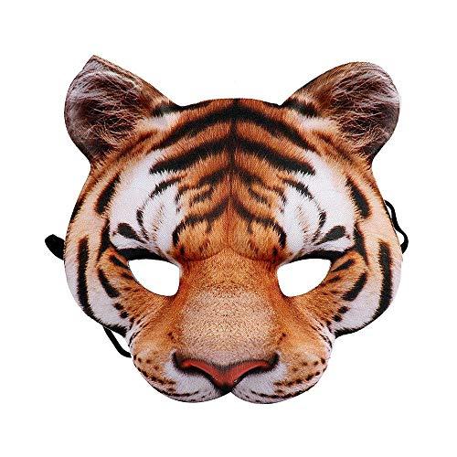 WanTo Karnevals-Partei-Mann und Frauen-halbes Gesicht realistische Tier-Cosplay Kostüm-Tiger-Maske, gelber (Tiger Gesicht Kostüm)