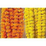 Evisha Artificial Flowers Marigold Garlands (Lemon, Orange, Pack of 10)