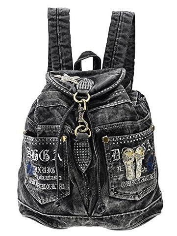 SAIERLONG Frauen und Mädchen Rucksack Schultasche Reisetasche Schwarz