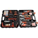 ICOCO 100-teiliger Premium Universal und Haushalts Werkzeugkoffer, Werkzeug Set (Schlagwerkzeug, Schraubendrehersatz, Zangensatz, Bandmass, Schrauben, ect)