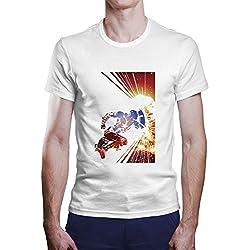 OKAPY Camiseta Capitan America. Una Camiseta de Hombre con Capitan America con su Escudo. Camiseta Friki de Color Blanca