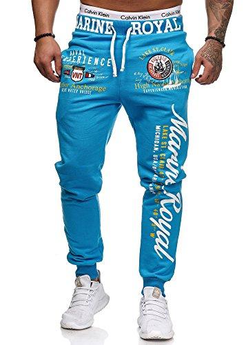 L.gonline Jogginghose Herren lang | Trainingshose 100% Baumwolle | Sporthose mit Bündchen | Enger Beinabschluss | Marine 5258 (XXL, Türkis)